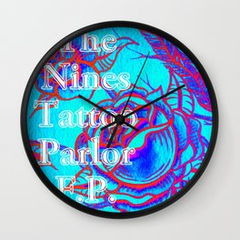 Design by Steph Darling at The Nines Tattoo and Art Parlor Be Bright Blue Rose  Wall Clock