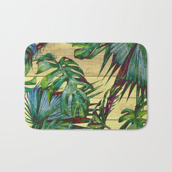 Tropical Palm Leaves on Wood Bath Mat