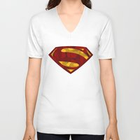 man of steel V-neck T-shirts featuring MAN OF STEEL by thebuffaloarmy