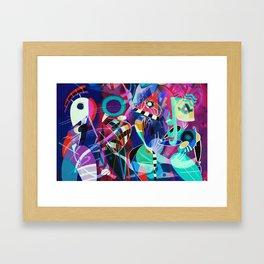 Night life, Wassily Kandinsky inspired geometric abstract art Framed Art Print