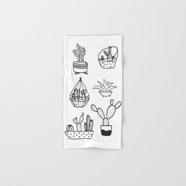 Minimalist Cacti Collection Black and White Hand & Bath Towel