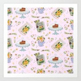 Tea time pastel pattern Art Print