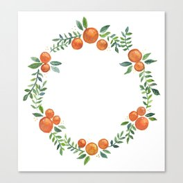 watercolor orange wreath Canvas Print