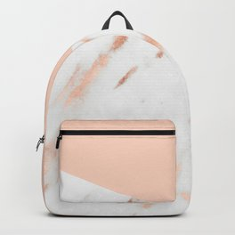 Pink Quartz and White Marble Rose Gold Backpack