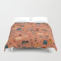 budapest hotel Duvet Covers featuring Budapest Hotel Plot Pattern by QRS Patterns