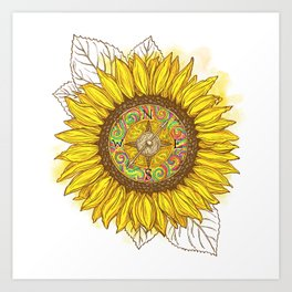 Sunflower Compass Art Print