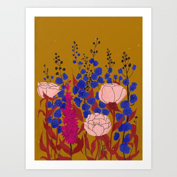 Inky Florals Art Print