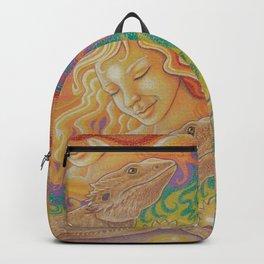 Sun And Dragon, Bearded Dragon Art Backpack