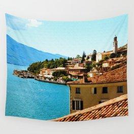 Limone Sul Garda Lake Garda Italy photo painting  Wall Tapestry