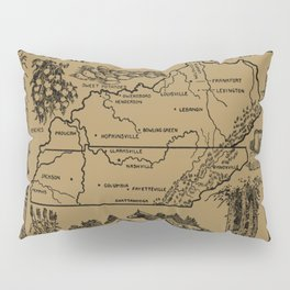 Vintage Illustrative Kentucky and Tennessee Map (1912) - Tan Pillow Sham