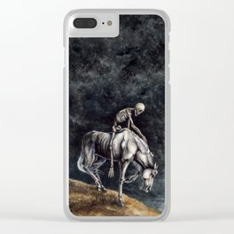 Skeleton Riding a Pale Horse Clear iPhone Case