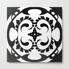 Black white tribal pattern Metal Print