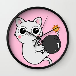 Kitty With a Ball of YaaAAAAA!!! - Explosives Expert Boom Cat Wall Clock
