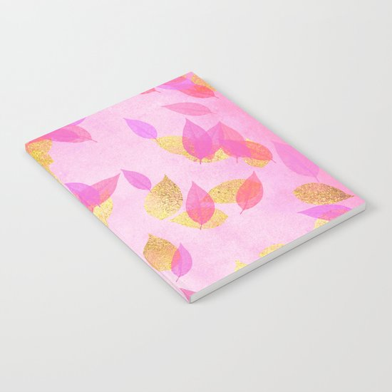 Autumn-world 5 - gold leaves on pink backround Notebook