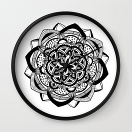 Blossoming black mandala on white (1) Wall Clock