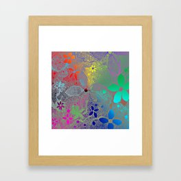 Flowers In Lace Rainbow Framed Art Print