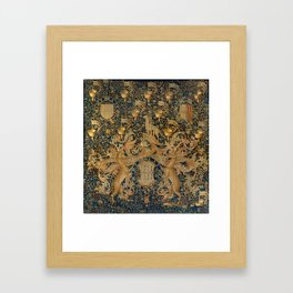 Vintage Golden Deer and Royal Crest Design (1501) Framed Art Print