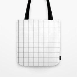 The Minimalist: White Grid Tote Bag