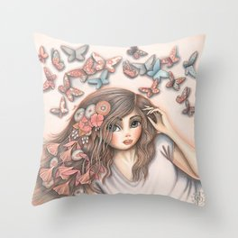 Paper Butterflies with girl Throw Pillow