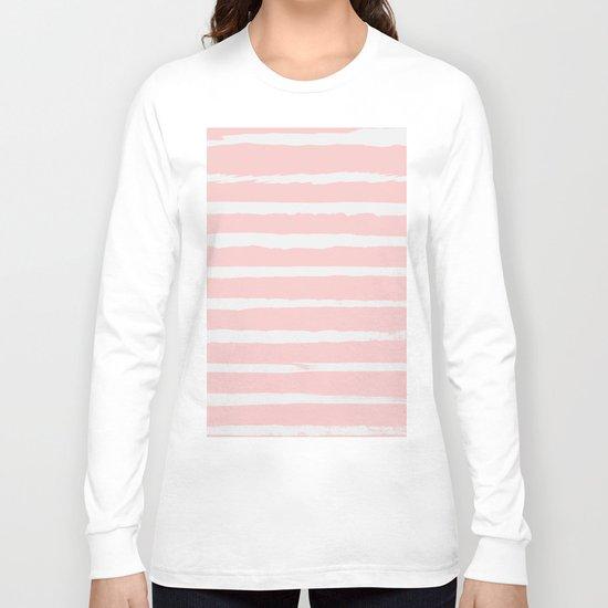 Irregular Hand Painted Stripes Pink Long Sleeve T-shirt