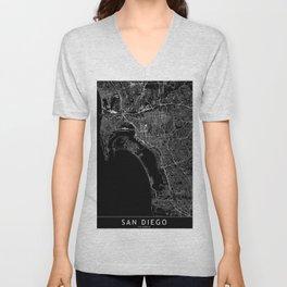 San Diego Black Map Unisex V-Neck
