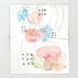 180805 Subtle Confidence 11| Colorful Abstract |Modern Watercolor Art Throw Blanket