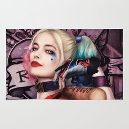 Margot Robbie as Harley Quinn Digital Painting - Suicide Squad Rug