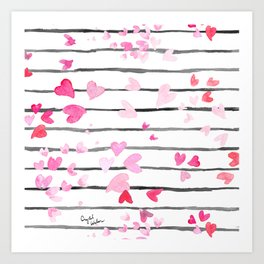 Sweet Heart Sprinkle Stripe Art Print