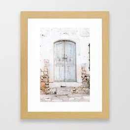 Never too old   Greek light blue old door in Crete, Greece   Pastel colored travel photography print Framed Art Print