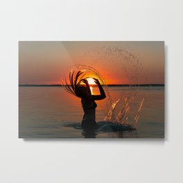 Water and sunset in the backlight Metal Print