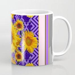 Grey Art Lilac Color & Yellow Sunflowers Garden art Coffee Mug
