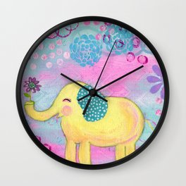 Elephant painting, Nursery Decor, Child's Room Decor, Yellow Elephant, Pink, Light Blue, Lavender Wall Clock
