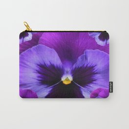 PURPLE PANSIES ON TEAL COLOR Carry-All Pouch