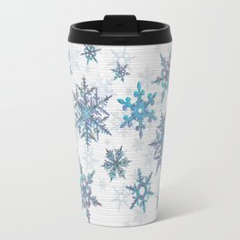 """Embroidered"" Snowflakes on white canvas Travel Mug"