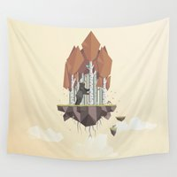 low poly Wall Tapestries featuring Low Poly Autumn Bear by scarriebarrie
