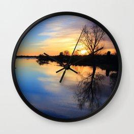 Floodplain at Sunset 1 Wall Clock