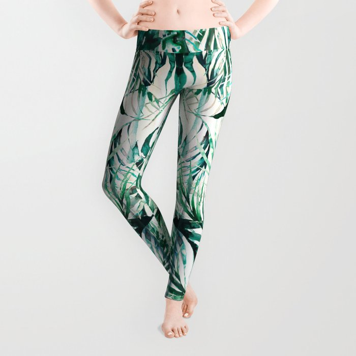 Green Tropical paradise  Leggings