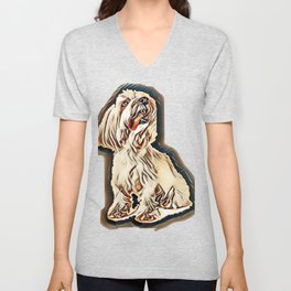 Coton de Tulear in front of white background        - Image Unisex V-Neck