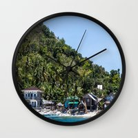 philippines Wall Clocks featuring Apo Island Philippines by Jennifer Stinson