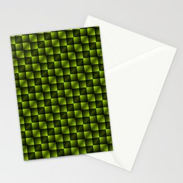 Fashionable large lozenges from small yellow intersecting squares in gradient dark cage. Stationery Cards