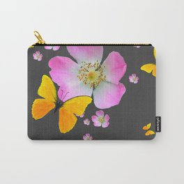 CHARCOAL GREY YELLOW BUTTERFLIES & PINK ROSES Carry-All Pouch