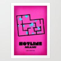 hotline miami Art Prints featuring Hotline Miami - Minimalist Design by dcruze