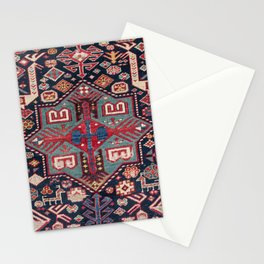 Teal Blue Shirvan Medallion 19th Century Authentic Colorful Geometric Shapes Vintage Patterns Stationery Cards