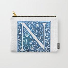 Letter N Antique Floral Letterpress Carry-All Pouch
