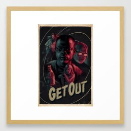 Get Out - Retro movie poster Framed Art Print