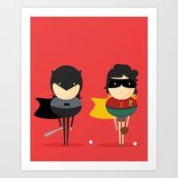 super heroes Art Prints featuring Heroes & super friends! by Juliana Rojas | Puchu