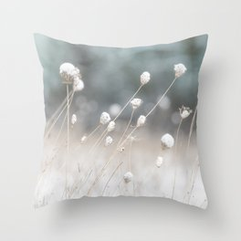 Snowy Winter Weeds Throw Pillow