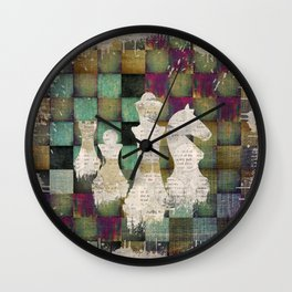 Paint and Print  Chessboard and Chess Pieces Wall Clock