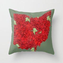 Ohio in Flowers Throw Pillow