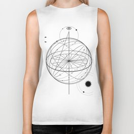 Alchemy symbol with eye, moon, sun Biker Tank
